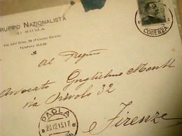 BUSTA DA PAOLA CS  X FIRENZE  GRUPPO NAZIONALISTA ROMA  VB1915 HV2658 - Sin Clasificación