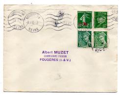 1942--Lettre De MONTREUIL/BOIS-93 Pour Fougères-35--types Mercure,Pétain Et Semeuse--krag - 1921-1960: Modern Period