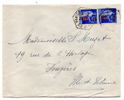 1941-Lettre De MANTES CP N°1 -78  Pour Fougères-35--type PAIX..Paire Verticale--cachet Hexagonal - 1921-1960: Periodo Moderno
