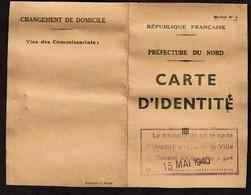 1939 - WW2 - Carte D'Identité - Denain - Julie VILLAIN - Reçu Masque à Gaz 15 Mai 1940 - 2 Scans - 1939-45