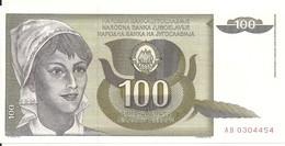 YOUGOSLAVIE 100 DINARA 1991 UNC P 108 - Yugoslavia