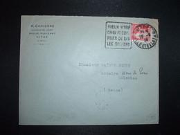 LETTRE TP PAIX 50c OBL. DAGUIN 13-6 34 VITRE ILLE ET VILAINE (35) VIEUX VITRE CHAU FEODAL - Mechanical Postmarks (Other)