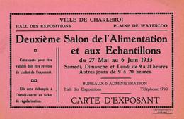 Ville De Charleroi , 2 E Salon De L'alimentation Et Aux échantillons , 1933  , Carte D'exposant - Charleroi