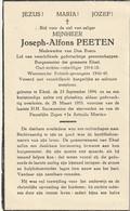 Burgemeester, Politiek Gevangene, Oudstrijder, 14-18, Joseph Peeten, Eksel, - Devotion Images