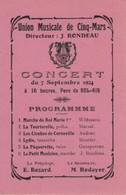Union Musicale Cinq Mars La Pile Indre Et Loire Concert 7 Septembre 1924 Parc Du Bel Air Programme Directeur J Rondeau - Programmi