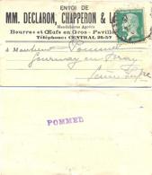 ETIQUETTE MM. DECLARON & LHEMMAND BEURRES Et ŒUFS En GROS PAVILLON N° 10 R. DES HALLES PARIS-117 TàD 4-25 - 1921-1960: Période Moderne