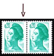 """2181- 20c émeraude Liberté - Variété : """"cadre Brisé"""" - En Paire Tenant à Normal - Neuf N** - Très Beau - Variedades: 1980-89 Nuevos"""