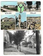 ROUJAN - 34 -  LOT 2 CPSM - CENTRE DE LA VILLE -  MULTI VUES - Andere Gemeenten