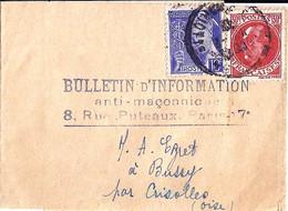 TYPE PETAIN N°506 + 407 SUR BANDE JOURNAL DE PARIS 54/12.2.42 - 1941-42 Pétain