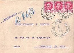 """TYPE PETAIN N°516 X 3 SUR LETTRE REC. DE """"VICHY ALLIER/CONTRESEINGT/11.5.42 - 1941-42 Pétain"""