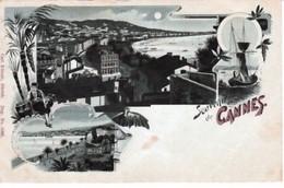 SOUVENIR  DE  CANNES  ( 06  )  PANORAMA  CLAIR  DE  LUNE  ( - CPA  ( 20 / 12 / 328  ) - Cannes