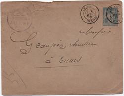 Entier Postal Enveloppe 15c Type SAGE Oblitération BFE Bureau Civil LE KEF TUNISIE 1885 (éclat D'ouverture Mais RRR !) - 1877-1920: Periodo Semi Moderno