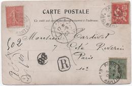 Carte Postale Recommandée PARIS 1903 Affranchissement Mouchon 10c + Semeuse Lignée 10c Et 15c TB Et Rare! - Storia Postale