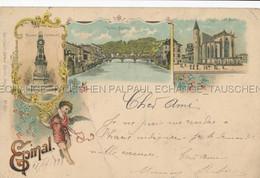 Epinal Lithographie 1898 EgliseSaint Maurice Vieilles Maisons Monument Aux Morts Commemoratif Engel Ange Angel Angelo - Epinal