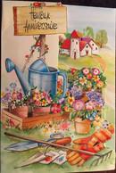 Cpm Double MD,dépliant Intérieur, Gaufrée, Heureux Anniversaire, Arrosoirs, Pots De Fleurs, Outils Jardinier, Ferme - Cumpleaños