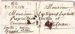 Pyrénnées Atlantiques 2 Marques Linéaire Oléron Oloron Sainte Marie 25 Octobre 1825 18 Juillet 1827 - 1801-1848: Precursors XIX