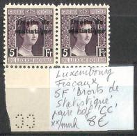 NB - [856344]TB//**/Mnh-Luxembourg  - Fiscaux, 5f Droits De Statistique, Paire Bdf 'CC' - Fiscaux