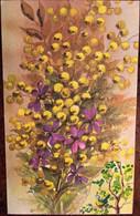 Cp, Illustrateur Signée Legendre, Aquarelle Mimosa, Arbre, Oiseau, Paillettes, écrite, éditeur?, 8 X 13 Cms - Andere Illustrators