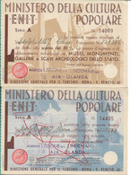 Ministero Della Cultura Popolare - Biglietti D'ingresso