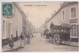 62 MARQUISE La Route Nationale , Tramway à Chevaux Correspondance Chemin De Fer Wissant Devant Arrèt - Marquise
