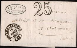 France Lettre Non Affranchie Expédiée De Dun-le-Pallateau (Creuse) Vers Chateauroux (Indre) Datée Du 19 Août 1850 - 1849-1876: Klassik