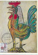 """1331 - 0,25F COQ DECARIS Oblitération 1er Jour Paris 10-03-62 """"le Coq"""" PABLO PICASSO - TB - 1960-69"""