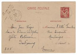 1942 - RARE ENTIER POSTAL TYPE IRIS CARTE INTERZONE Avec OBLITÉRATION De COTONOU DAHOMEY Pour MONTARGIS FRANCE WW2 AOF - 2. Weltkrieg 1939-1945