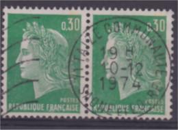 France Marianne De Cheffer 30c Vert En Paire Avec Cachet TAIZE Communauté Saône Et Loire Cachet Rond Centré 10 /12/1974 - Ohne Zuordnung