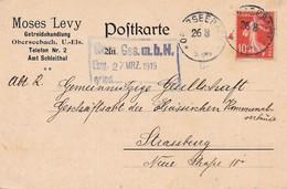 10c Semeuse Obl Allemande Oberseebach 26/3/1919 Sans Millésime CP Pr Strasbourg (Seebach Bas-Rhin) - Alsace Lorraine