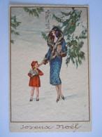 Joyeux Noël Femme Avec Enfants Et Cadeaux Neige Vrouw Met Kind Geschenken Sneeuw Circulée Edit Degami 3100 - 1900-1949