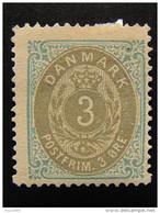 "DINAMARCA-Denmark -1875- ""Royal Emblem"" O. 3 S.G. (descrizione) - Ungebraucht"