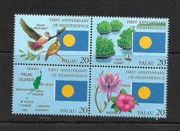 PALAU 1995 DRAPEAUX-FLEURS-OISEAUX YVERT N°841/44 NEUF MNH** - Stamps