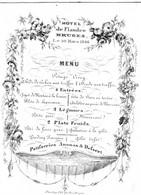 Carte Menu Hôtel De Flandre Brugge 1846  Litho Daveluy Litho Du Roi   9,5 X 12,5 Cm - Porcelaine