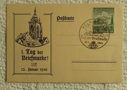Carte 1er Jour Tag Der Briefmarke 12 01 1941 KOLMAR Occupation Allemande Guerre Marcophilie - Elzas-Lotharingen