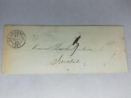 Ancienne Lettre Marque Postale Charente Inférieure Ou Maritime Croix Chapeau Cad Type 15 Valeur = 54 - 1801-1848: Voorlopers XIX