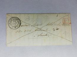 Ancienne Lettre Marque Postale Charente Inférieure Ou Maritime Croix Chapeau Cad Type 15 + P.P Valeur = 75 - 1801-1848: Voorlopers XIX