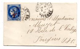 1941--Lettre De PORT-BRILLET-53 Pour FOUGERES-35-type Cérès Surchargé,cachet Rond - 1921-1960: Periodo Moderno