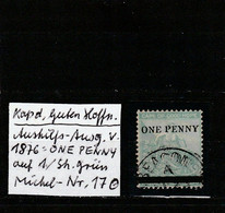 Cape Of Good Hope 1876: ONE PENNY On 1 Shilling Green, Used, No Fault Signed Dr. Knopke; S.G. No. 33           O - Capo Di Buona Speranza (1853-1904)