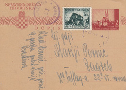 1944 Croatia NDH Stationery Sent From Bradina To Zagreb , Censored , Censure Zagreb 21 - Croatia