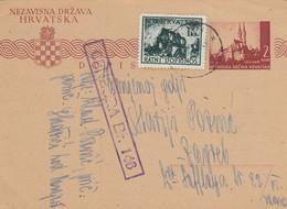 1944 Croatia NDH Stationery Sent From Hadzici To Zagreb , Censored , Censure 146 - Croatia