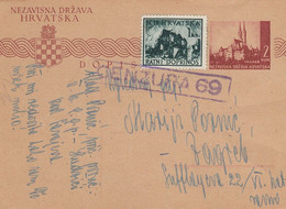 1944 Croatia NDH Stationery Sent From Hadzici To Zagreb , Censored , Censure 69 - Croatia