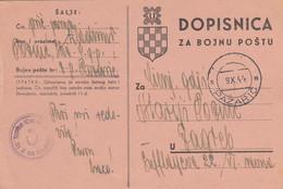 Croatia NDH Stationery Dopisnica Za Bojnu Postu , Feldpost , Pazaric 1944 , Zapovjednistvo III.dom.zbor.podrucja - Croatia
