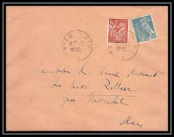 5980 Iris N° 652 + Mercure N° 549 1945 Ain MEXIMIEUX Pour L'Abbé Thomas Miribel Ain Lettre (cover) - 1939-44 Iris