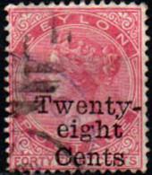 CEYLON - 1885 - Queen Victoria - Surcharged: 28c On 48c - USATO - Ceylon (...-1947)