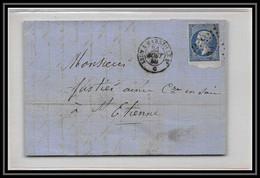 6915 LAC N 14 Loriol Drome 1860 Convoyeur Marseille Rhone Filet Absent Napoleon Bord De Feuille Tb St Etienne Loire - 1849-1876: Klassik