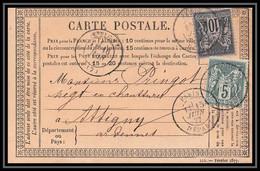 8789 LAC N 75 + 89 Sage 1877 Affranchissement Compose Paris Depart Attigny Ardennes Precurseur Carte Postale - Precursor Cards