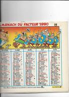 CALENDRIER ALMANACH DES  POSTES  ET TELEGRAPHES ANNEE 1990 ASTERIX OBELIX RECTO VERSO - Tamaño Grande : 1981-90