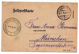 Feldpostkarte 1915, Stempel Festungs-Maschinen Gewehr Abteilung Namur - Namur