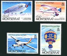 Montserrat 1983 200 Years Human Flight Envol Humain Montgolfière, Beardmore R-34 Airship, Lockheed Vega V, Twin Otter - Altri (Aria)