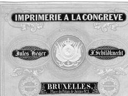 Imprimerie à La CONGREVE Jules Heger J.Schildknecht  Bruxelles Place Du Palais De Justice BRUXELLES Litho 12x8,5 - Porcelaine